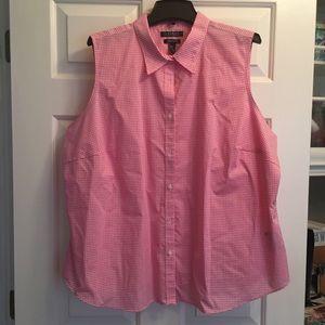 R L (Lauren) Pink & White Checked Blouse SZ 3X